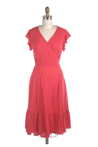 frock shop red dot ruffle wrap dress frockshop