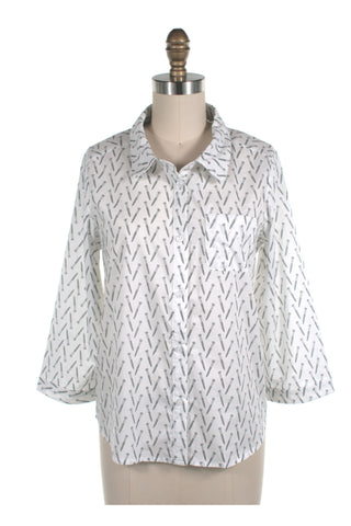 frock shop screw print blouse top white frockshop