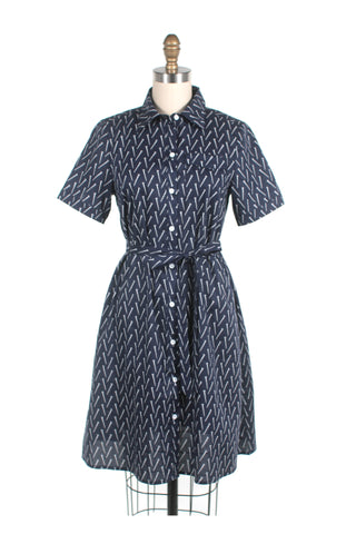 Screw print shirtdress in navy - last size S!
