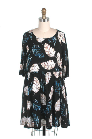 Leaf Tunic Dress in Black