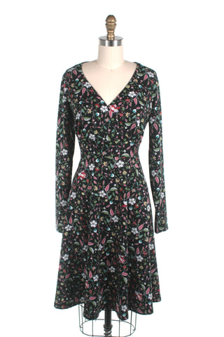 frock shop flower jersey longsleeve dress black frockshop