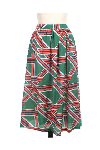 frock shop ribbon print green midi skirt frockshop