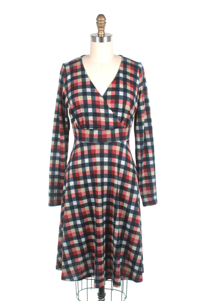 frock shop orange checker check jersey dress frockshop