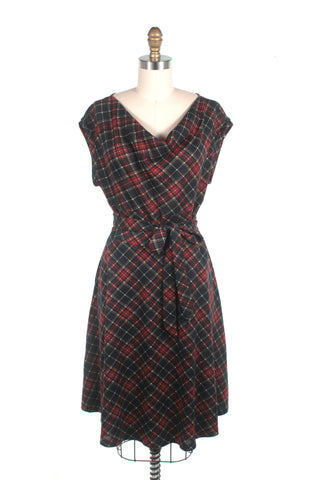 Cowl Neck Plaid Dress in Black/Red