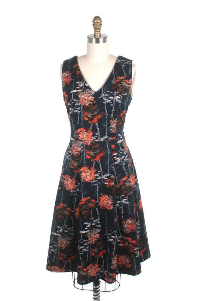 frock shop v-neck navy tree dress frockshop