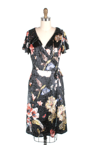 frock shop black velvet flower wrap dress frockshop