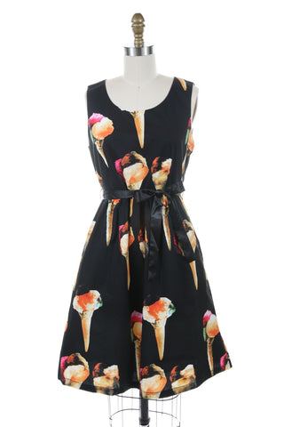 Ice Cream Cone Dress in Black