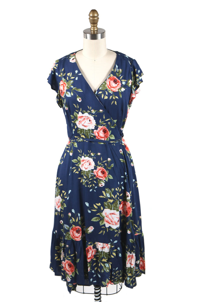 Rose Wrap Dress in Blue - last size L!