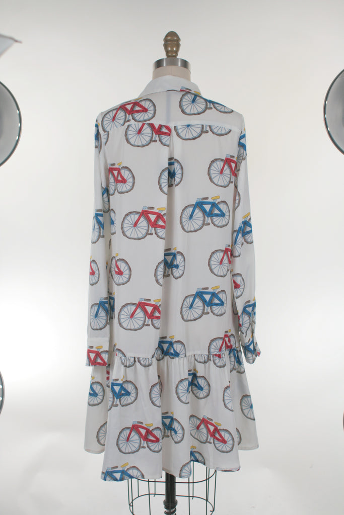 Bike Shirt Dress in White - Last size S!