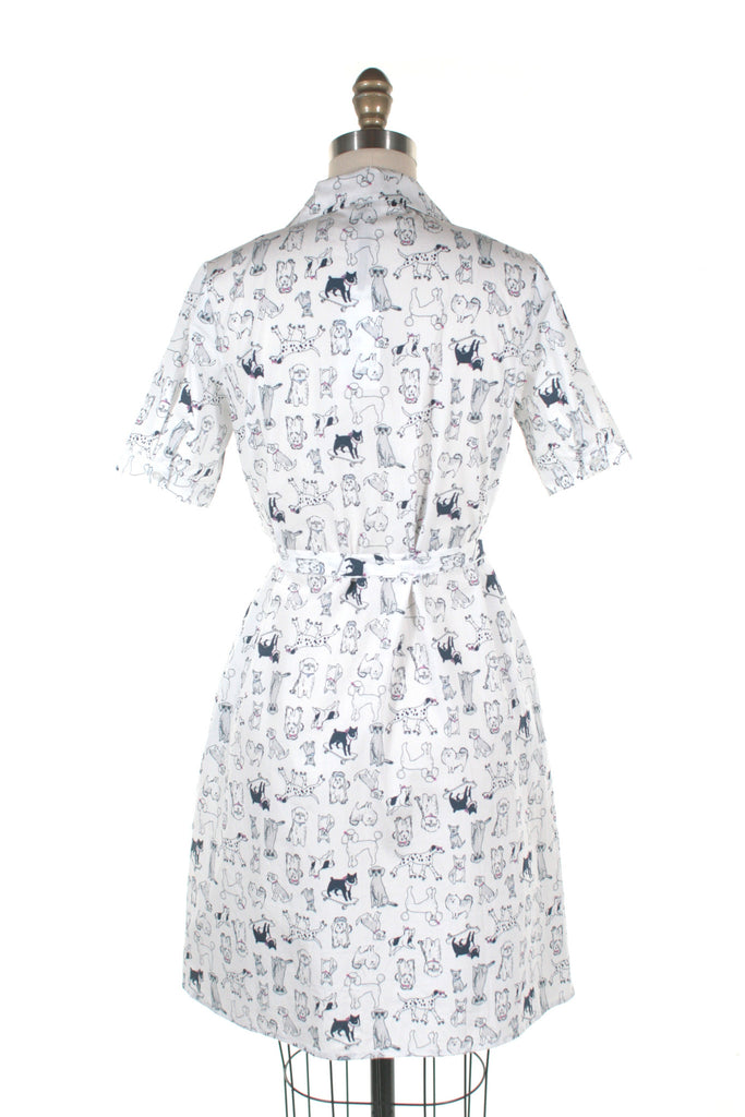 Dog Shirt Dress in White