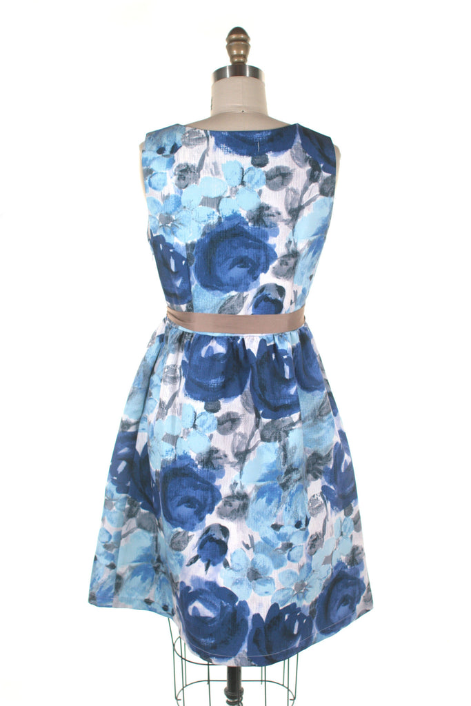 Painted Flower Dress in Blue Multi