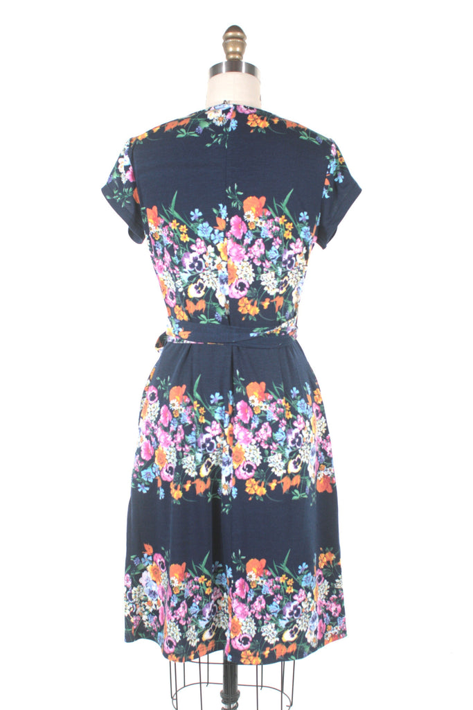 Garland Wrap Dress in Navy