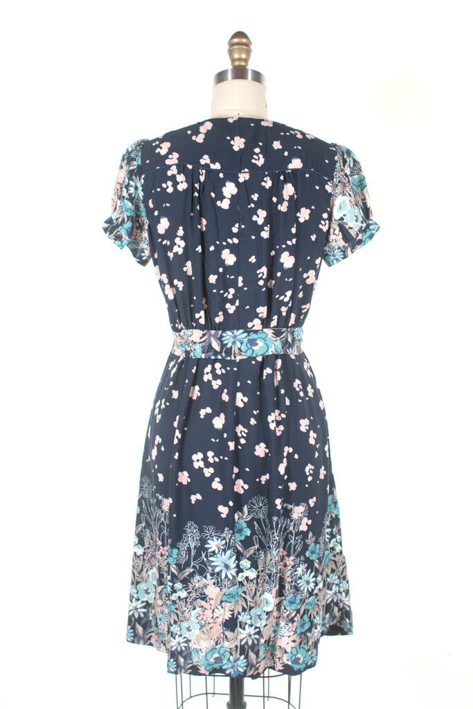 Josie Floral Dress in Navy