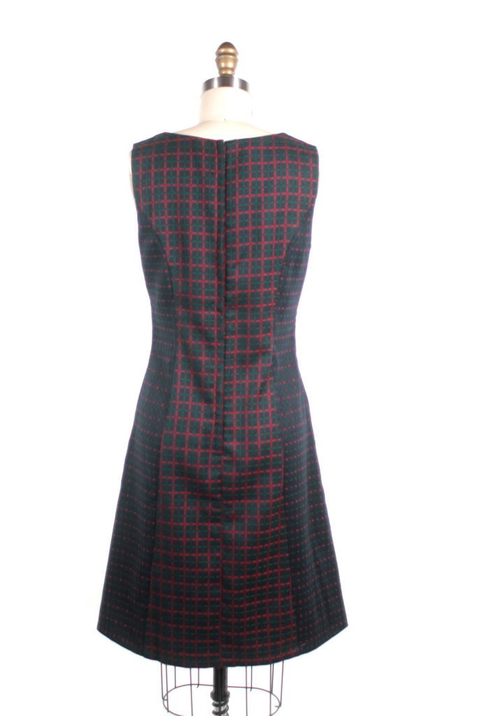 Checked Shift Dress in Navy