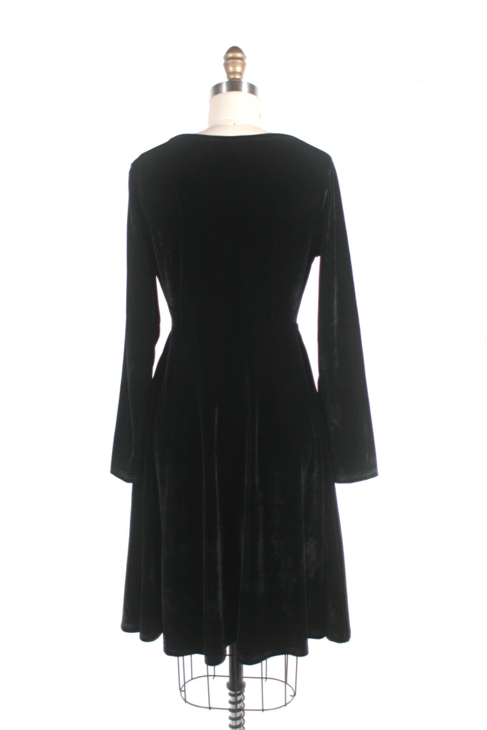 Velvet Skater Dress in Black