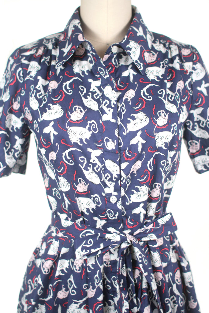 Playful Cat Dress in Navy