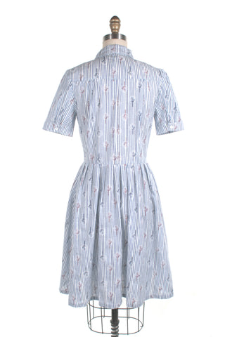 Stripe Trees Shirtdress in Blue