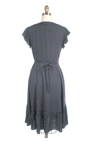 Ruffle Wrap Dot Dress in Navy