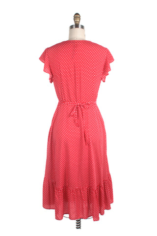 Ruffle Wrap Dot Dress in Red
