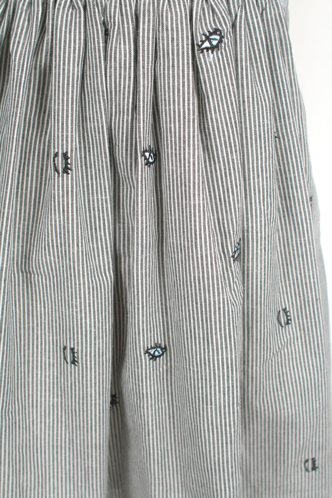 Stripe Eye gather skirt in Black/White