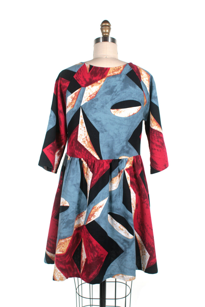 Abstract Flannel Dress in Multi