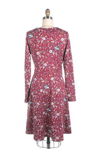 Flower Jersey Dress in Red - last size s!