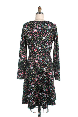 Flower Jersey Dress in Black