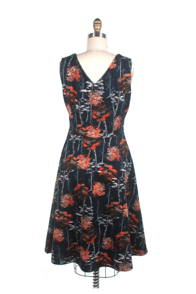 Trees V-neck Dress in navy