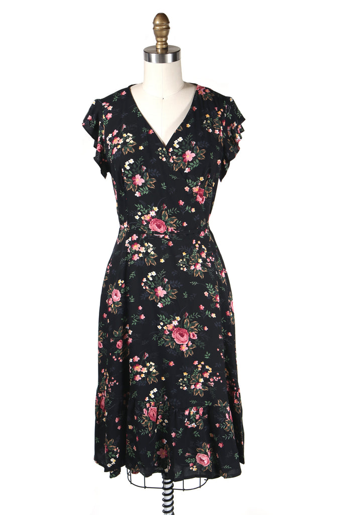 Rose Wrap Dress in Black