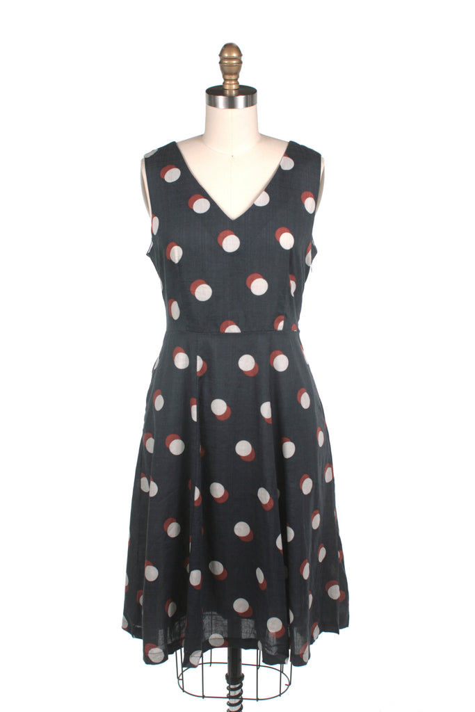 frock shop dots v-neck dress in navy