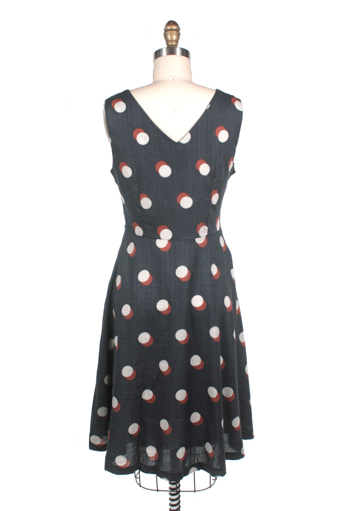 Dots V-neck Dress in navy