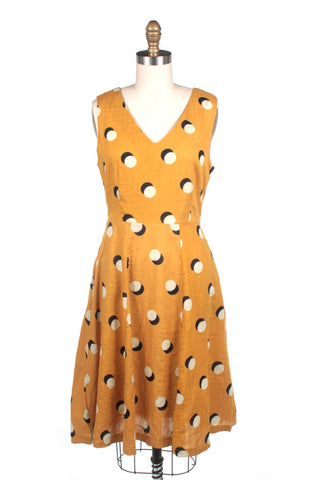 frock shop dots v-neck dress in mustard