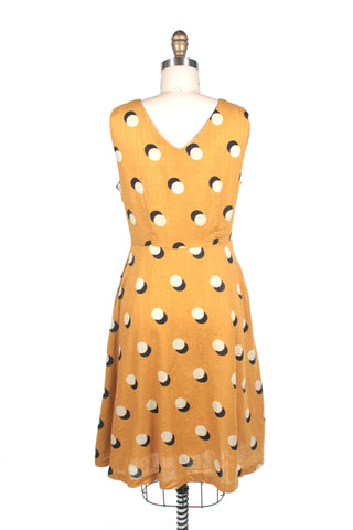 Dots V-neck Dress in mustard