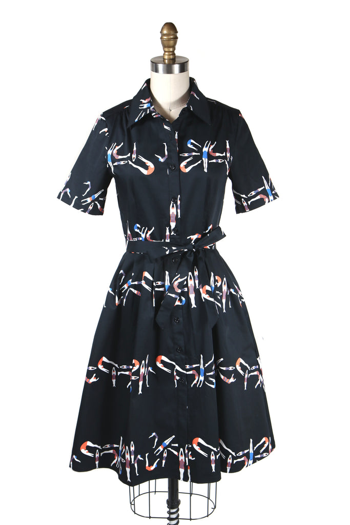 Swimmer Shirtdress in Black