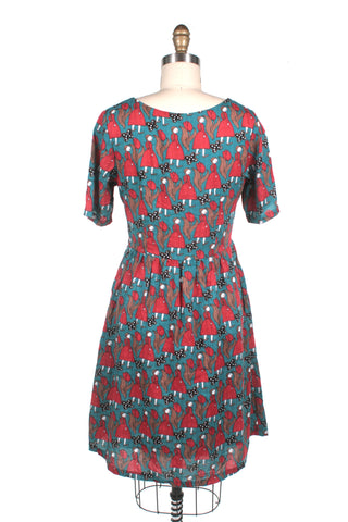 Doll Print Dress in Blue Multi