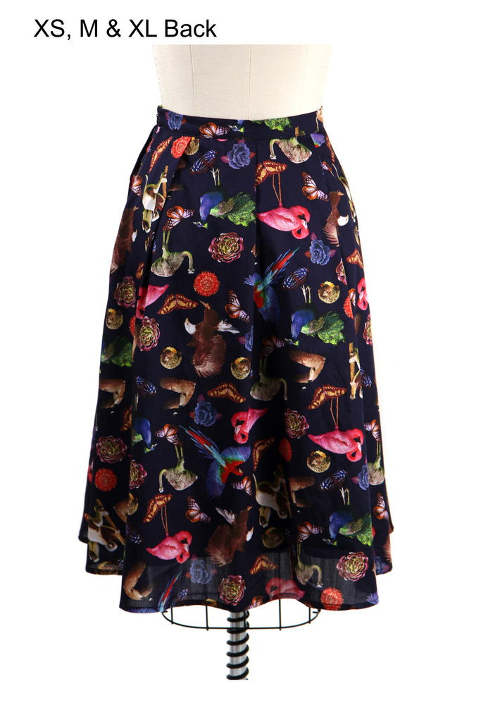 Animal Flock Skirt in Black