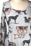 Dogs Print Jersey Dress in Grey - last size S!