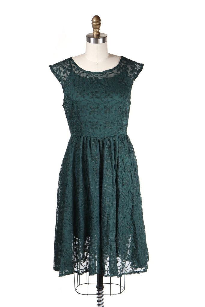 Sheer Cross Stitch Dress in Green - last size S!