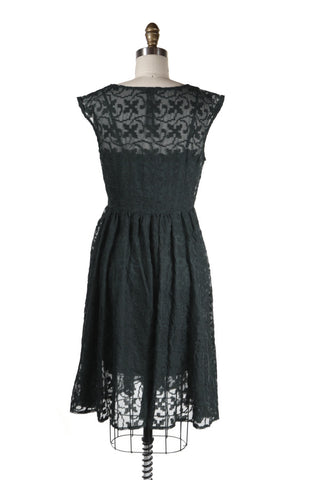 Sheer Cross Stitch Dress in Black - last size S!