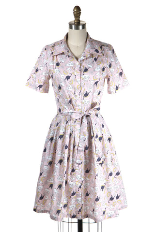 Playful Cat Dress in Pink (no belt) - last size S!