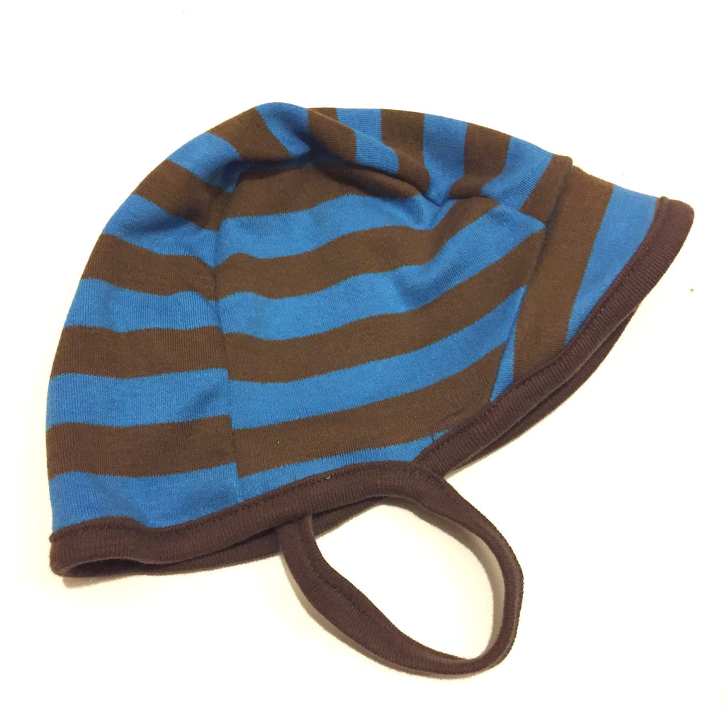 Cotton Aviator Baby Hat in Giraffe/Brown Stripe