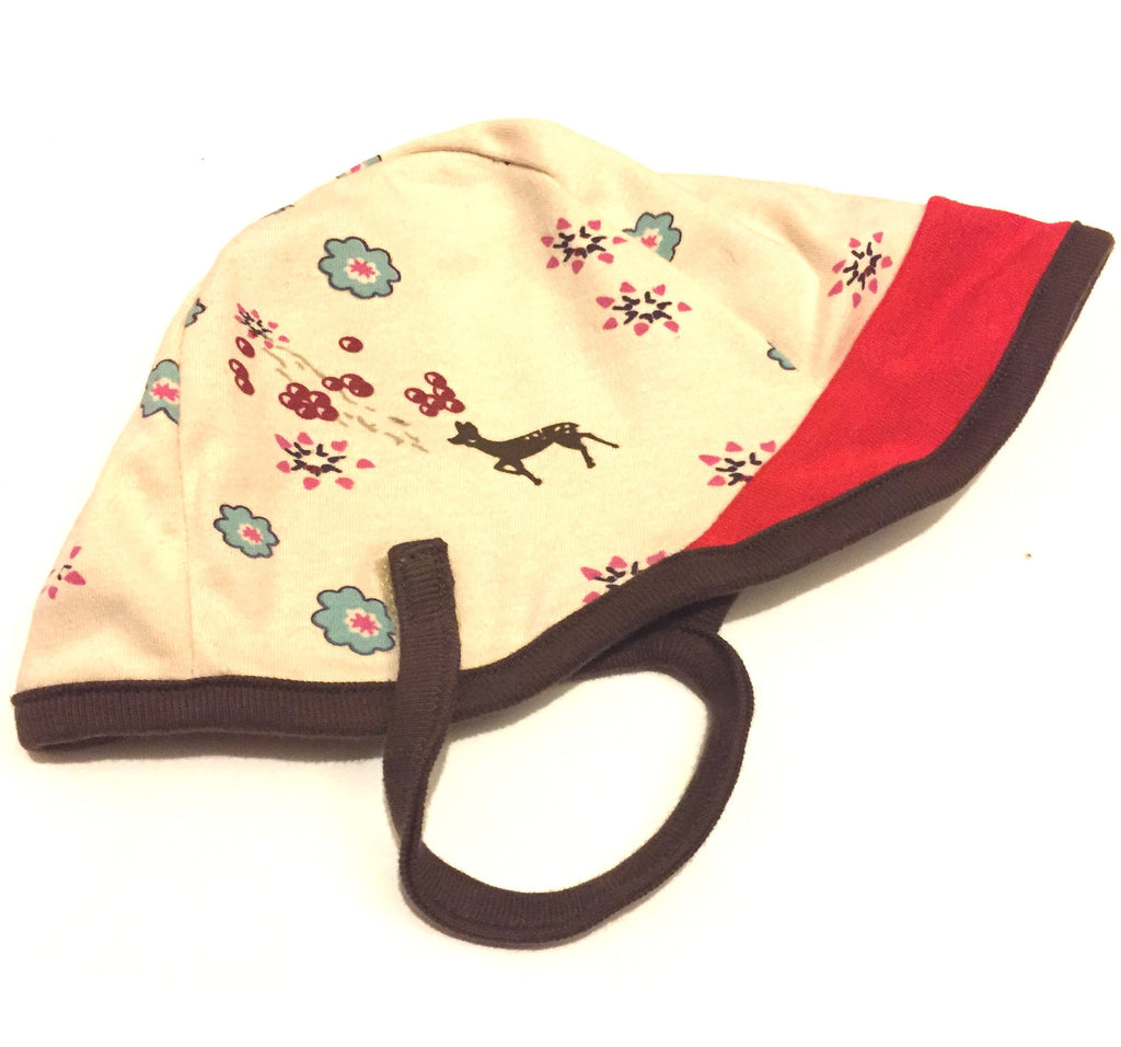 Cotton Aviator Baby Hat in Deer/Red