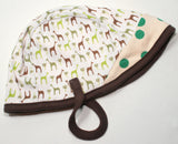 Cotton Aviator Baby Hat in Green Giraffe/Dots