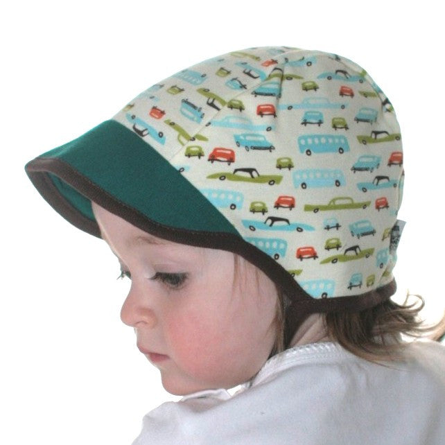 Cotton Aviator Baby Hat in Blue Stripe Cars