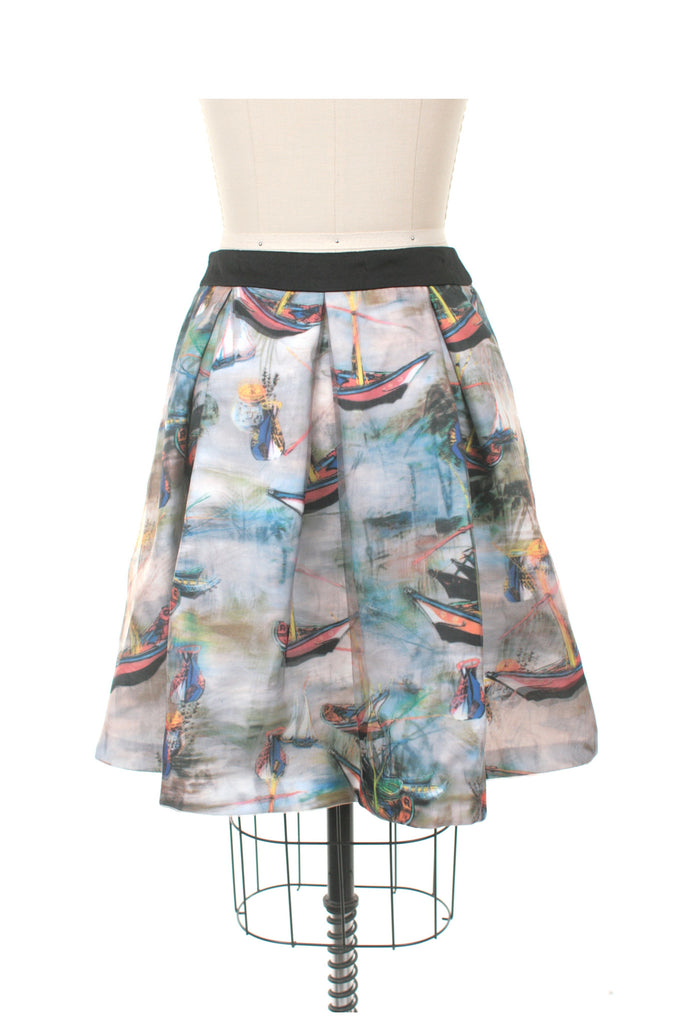 Boat Pleat Skirt in Grey