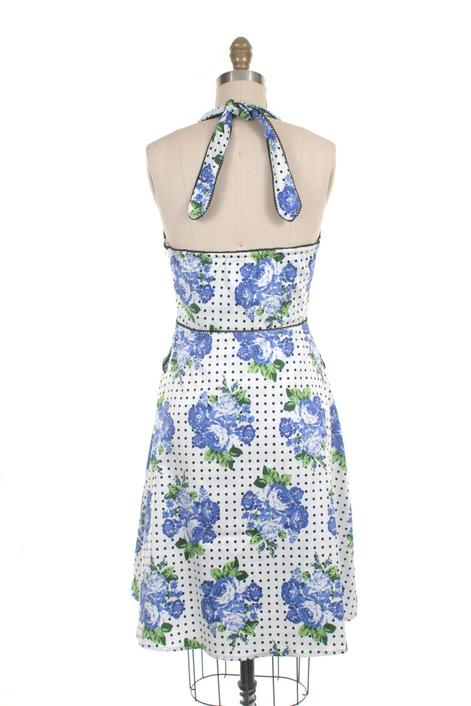 Flower Halter Dress in White/Blue - last size S!
