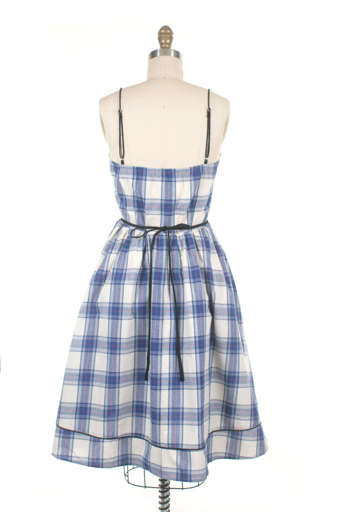 Lani Plaid Dress in Blue/Ivory