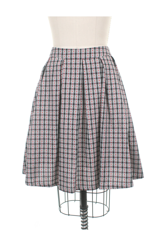 Gingham Heart Skirt in Black/Red