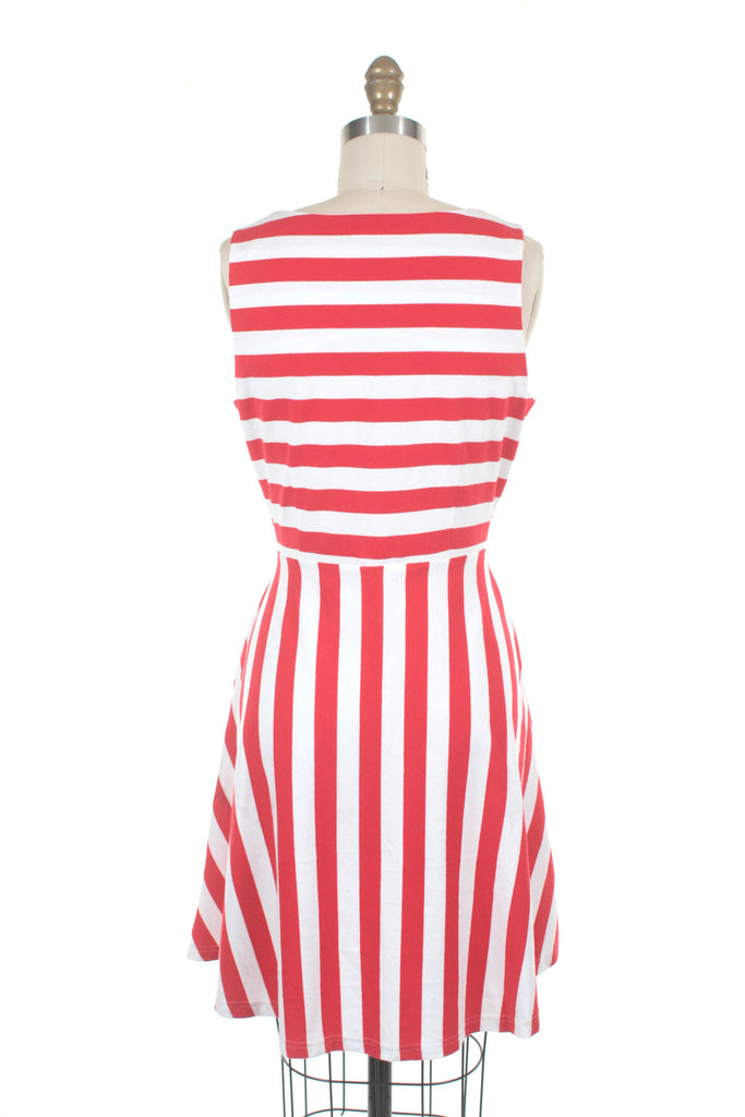 Sol Stripe Jersey Dress in Red/Ivory - last size XS!