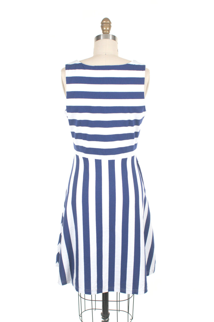 Sol Stripe Jersey Dress in Blue/Ivory
